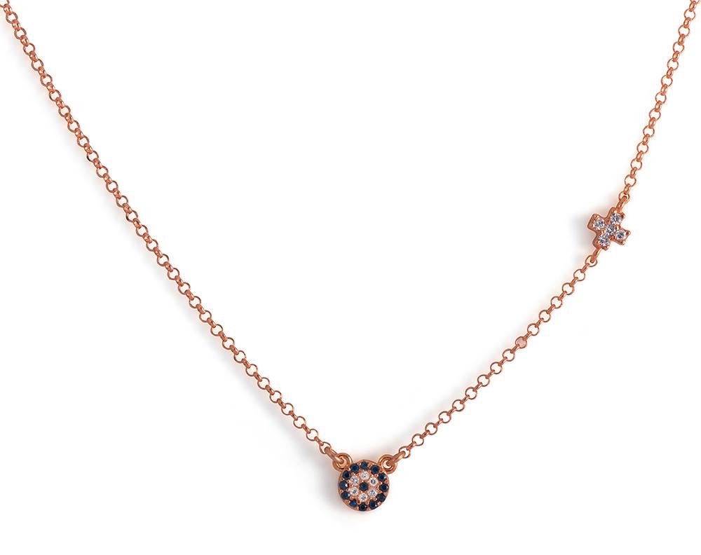 Κολιέ με ματάκι και σταυρουδάκι από ασήμι 925 - Ροζ f42e61678f6