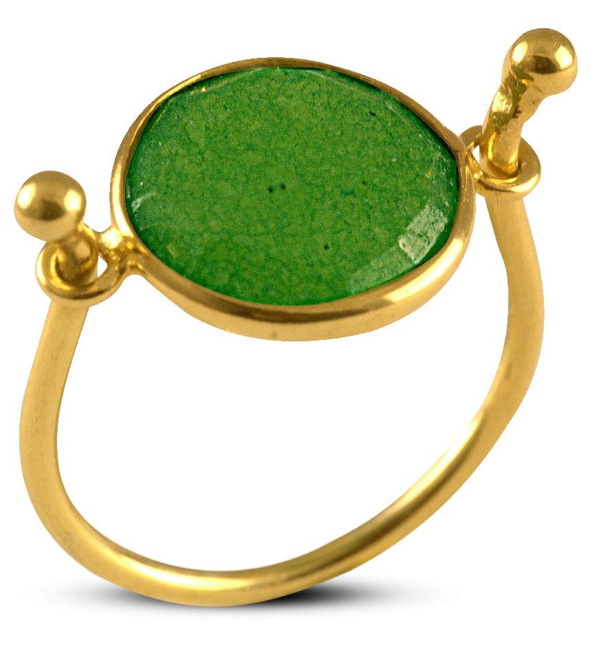 Δαχτυλίδι από επιχρυσωμένο ασήμι με γνήσιο ορυκτό σμαράγδι ff759fcfe78