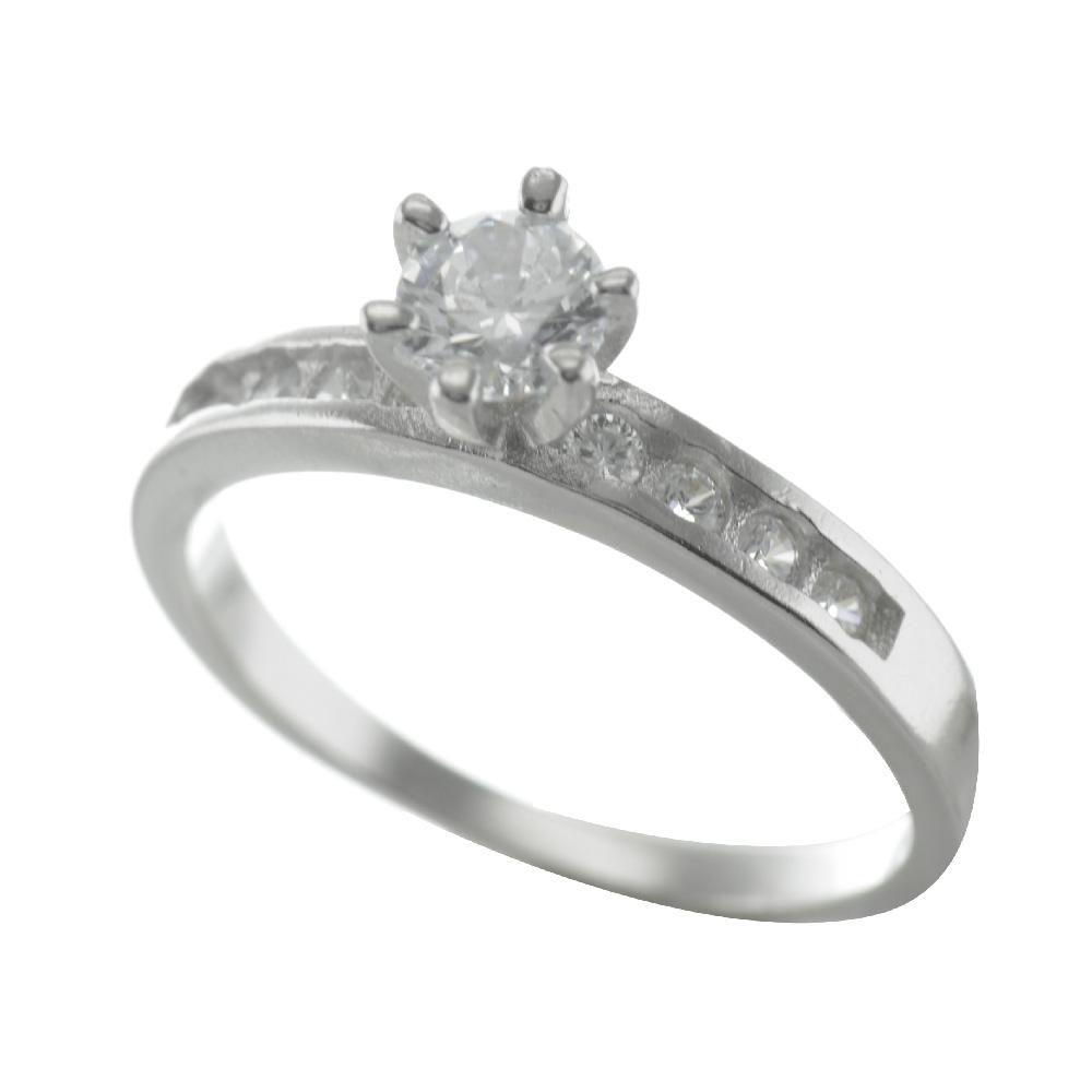 Μονόπετρο δαχτυλίδι από ασήμι με πέτρες ζιργκόν e7bdb9ed95d