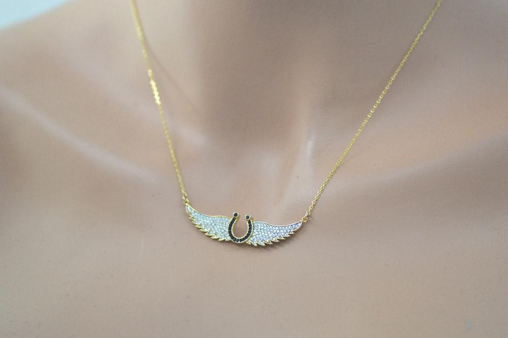 Εντυπωσιακό κολιέ φτερό αγγέλου από επιχρυσωμένο ασήμι με πέτρες ζιργκόν b3de76fcf91