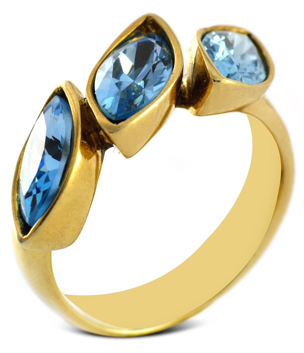 Δαχτυλίδι από επιχρυσωμένο ασήμι 925 με πέτρες Swarovski a7ee87babfc