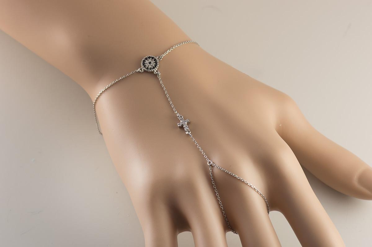Βραχιόλι δαχτυλίδι που ενώνεται με αλυσίδα από ασήμι με σταυρό και ματάκι 5be1e266ddf