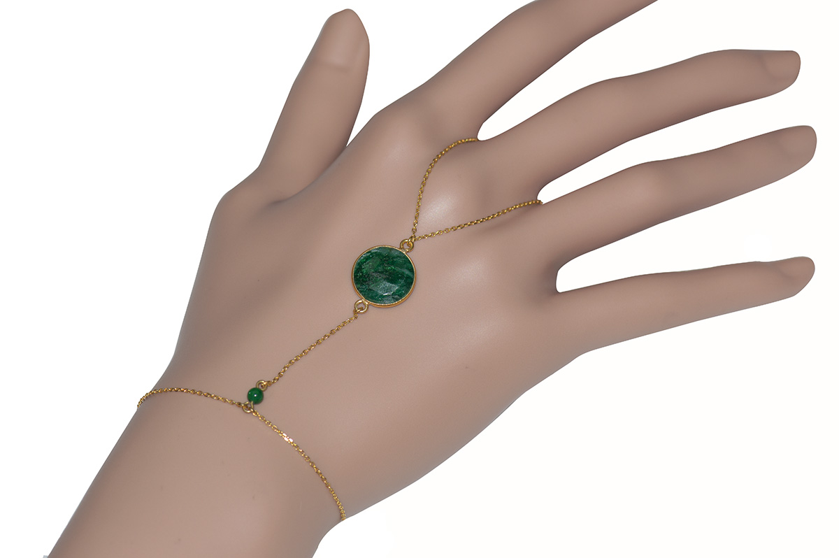 Βραχιόλι δαχτυλίδι που ενώνεται με αλυσίδα από επιχρυσωμένο ασήμι με  σμαράγδι 81ea4e72238