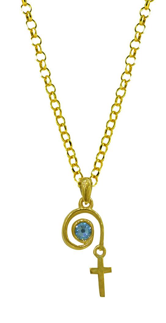 Κολιέ ματάκι με σταυρουδάκι από επιχρυσωμένο ασήμι με πέτρα swarovski 0e363a7beee
