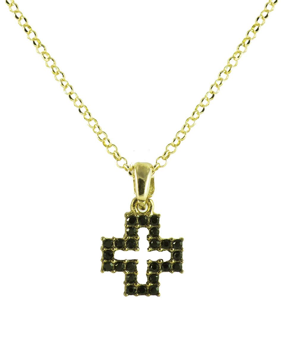 Κολιέ σταυρός από επιχρυσωμένο ασήμι με πέτρες swarovski fa191e40771