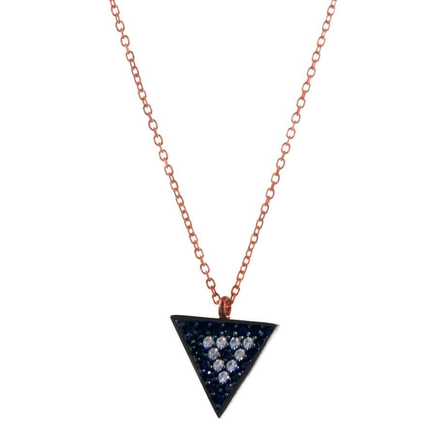 Κολιέ τρίγωνο από ρόζ επιχρυσωμένο ασήμι με πέτρες ζιργκόν large μέγεθος 4fa3cbca306