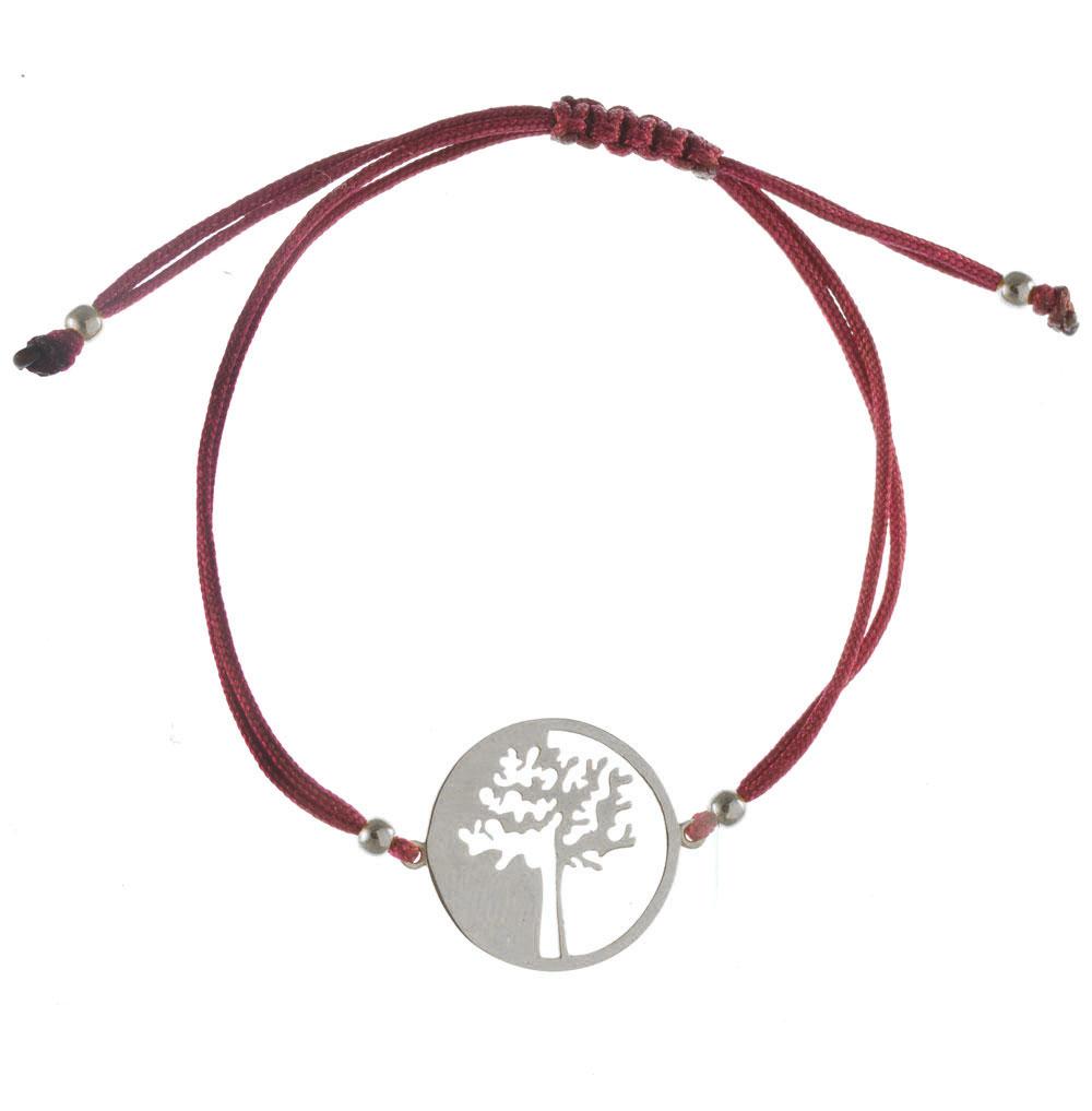 Χειροποίητο βραχιόλι με κορδόνι σε σχέδιο δέντρο ζωής από ασήμι 23bfb16e415