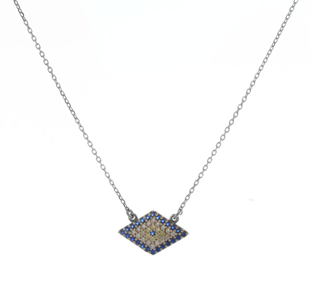Κολιέ τρίγωνο μάτι από ασήμι με πέτρες ζιργκόν 807a3bfc392