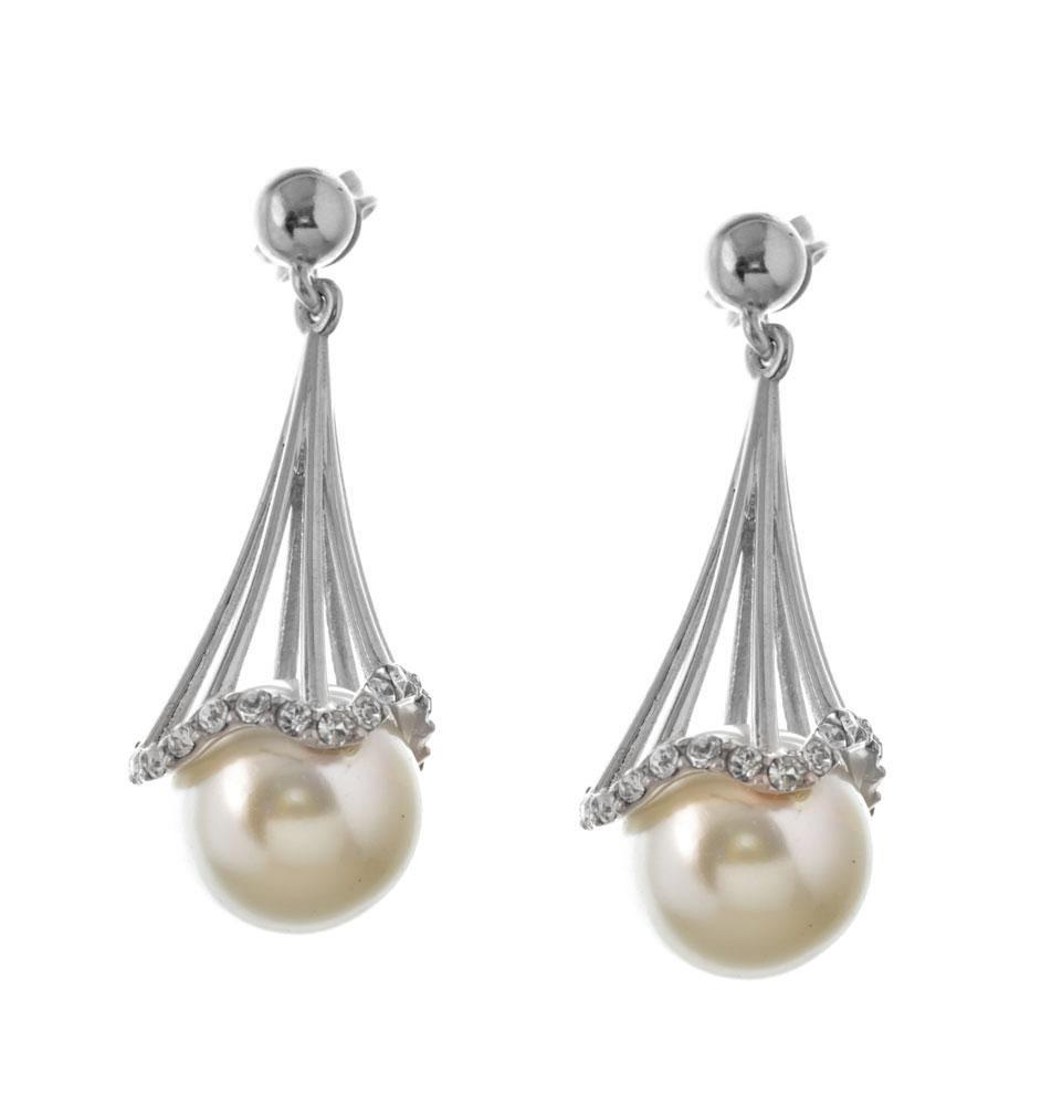 Σκουλαρίκια κρεμαστά από ασήμι με μαργαριτάρι και πέτρες swarovski 35dfa710cef