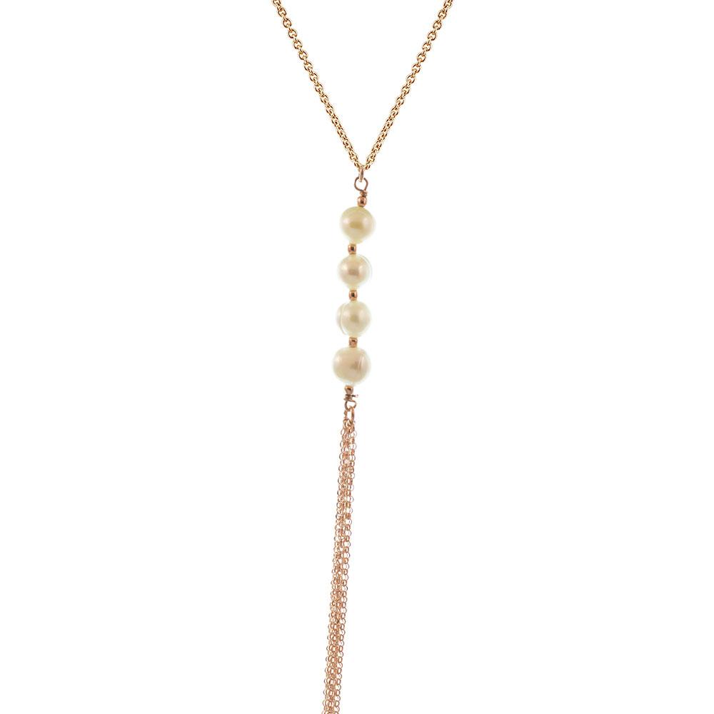 Κολιέ μακρύ στυλ γραβάτα από ρόζ επιχρυσωμένο ασήμι με μαργαριτάρια b275371407e
