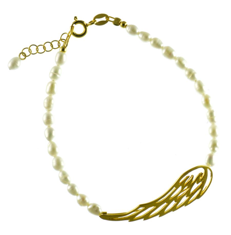 Βραχιόλι με μαργαριτάρια με φτερό αγγέλου από επιχρυσωμένο ασήμι c29d8c9ab6a