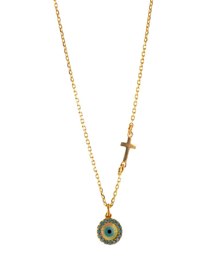 Κολιέ με ματάκι και σταυρουδάκι από επιχρυσωμένο ασήμι με πέτρες ζιργκόν 53223da7c0b