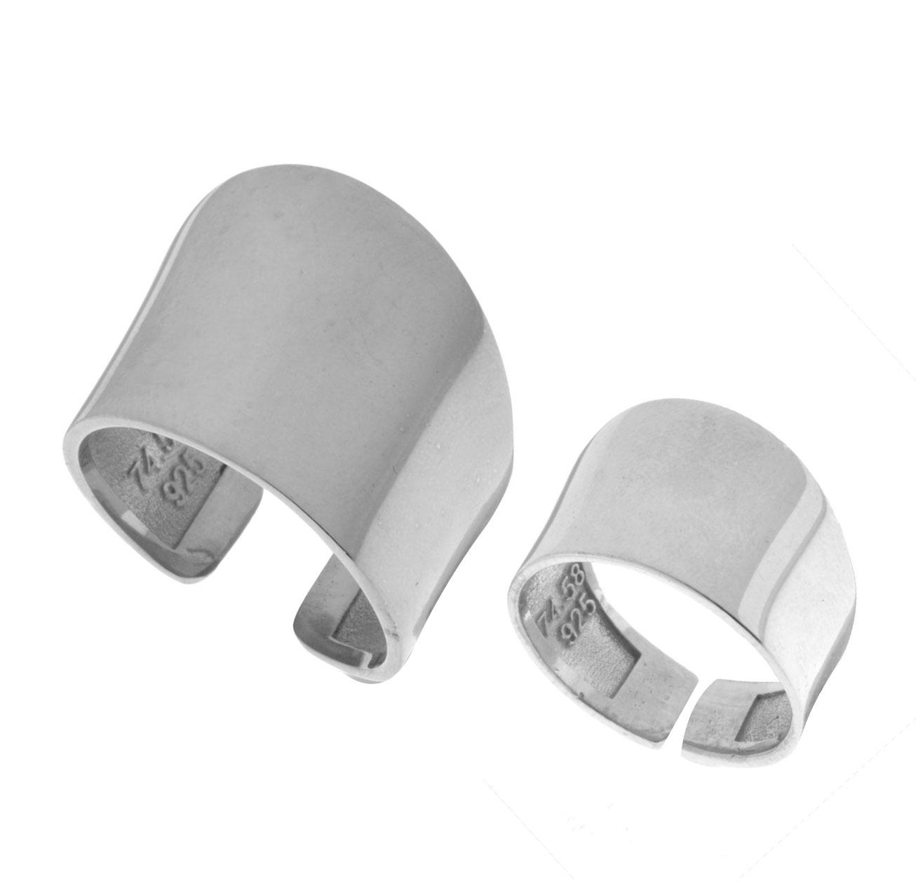 Δύο Χειροποίητα μοντέρνα δαχτυλίδια Σέτ από ασήμι One size ce7addf2cb4