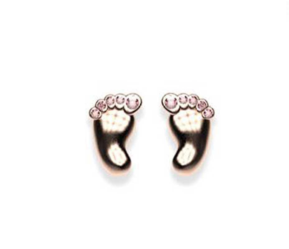 Σκουλαρίκια πατούσες από ρόζ επιχρυσωμένο ασήμι με πέτρες swarovski ada36bade82