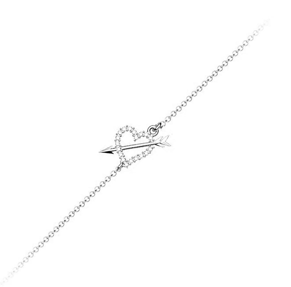Βραχιόλι συλλογή Love καρδιά με βέλος από ασήμι με πέτρα Swarovski e9c8dd8da8a