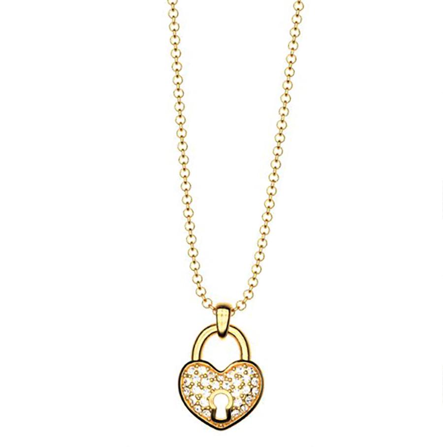 Κολιέ συλλογή Love καρδιά λουκέτο από επιχρυσωμένο ασήμι με πέτρα Swarovski 4bd225535b3