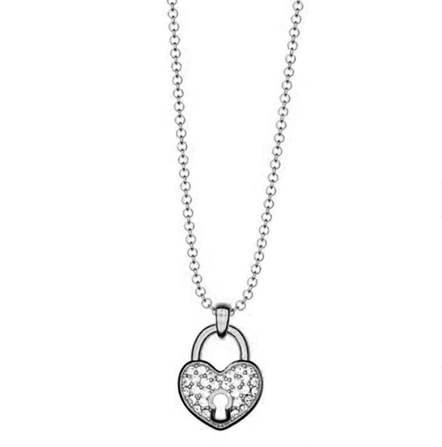 Κολιέ συλλογή Love καρδιά λουκέτο από ασήμι με πέτρα Swarovski b671124e5b8