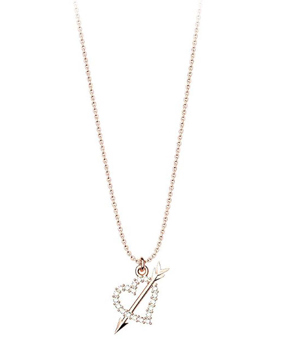 Κολιέ συλλογή Love καρδιά με βέλος από ρόζ επιχρυσωμένο ασήμι με πέτρα  Swarovski dcb32f46a7f