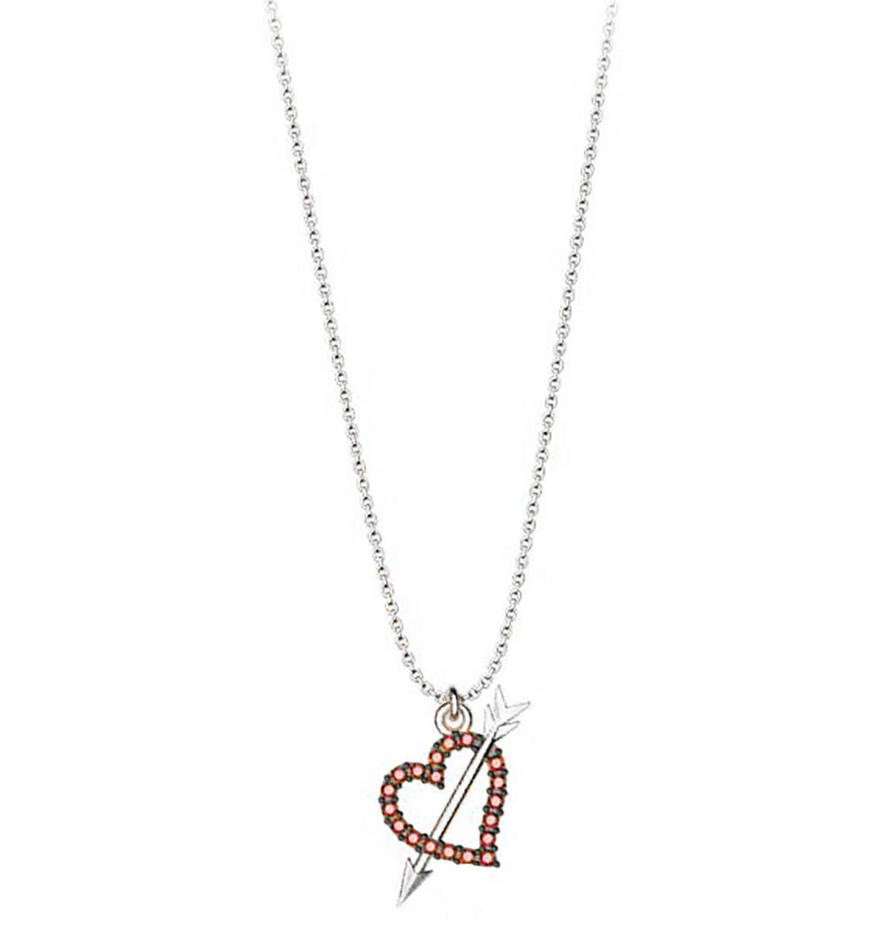 Κολιέ συλλογή Love καρδιά με βέλος από ασήμι με πέτρα Swarovski 5d388c7e455