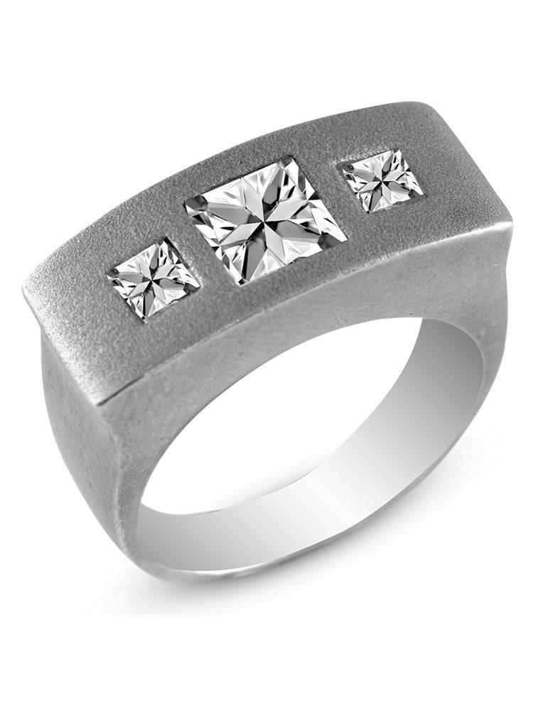 Ασημένιο δαχτυλίδι με πέτρες ζιργκόν