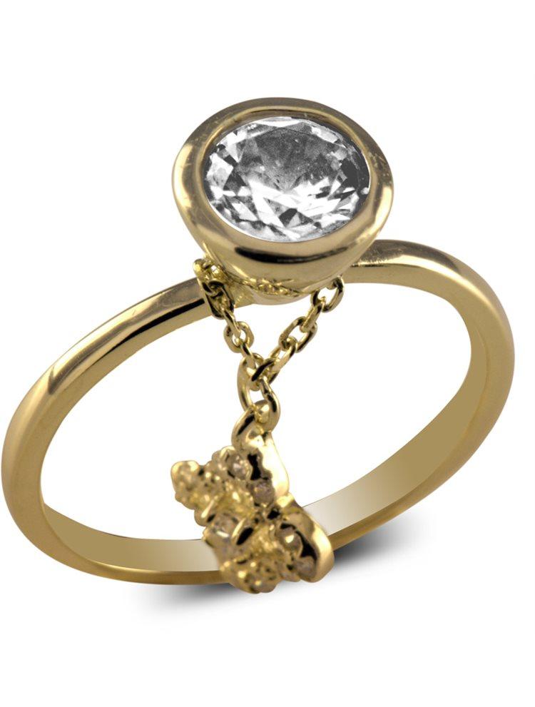 Δαχτυλίδι από ζιργκόν με κρεμαστό στοιχείο