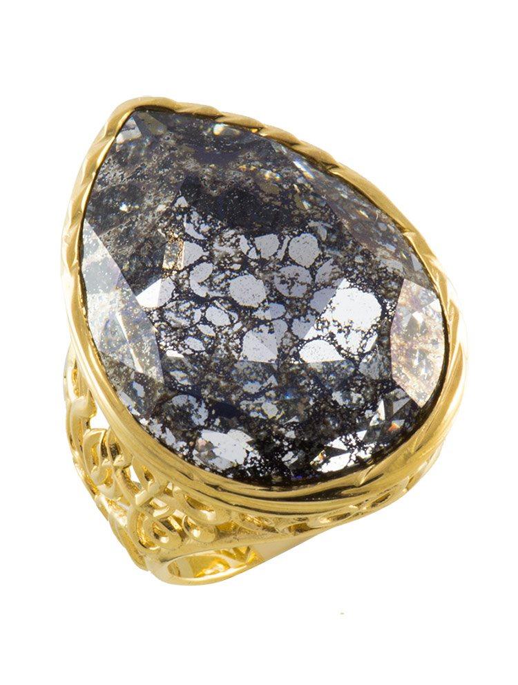 Δαχτυλίδι από επιχρυσωμένο ασήμι με πέτρα Swarovski