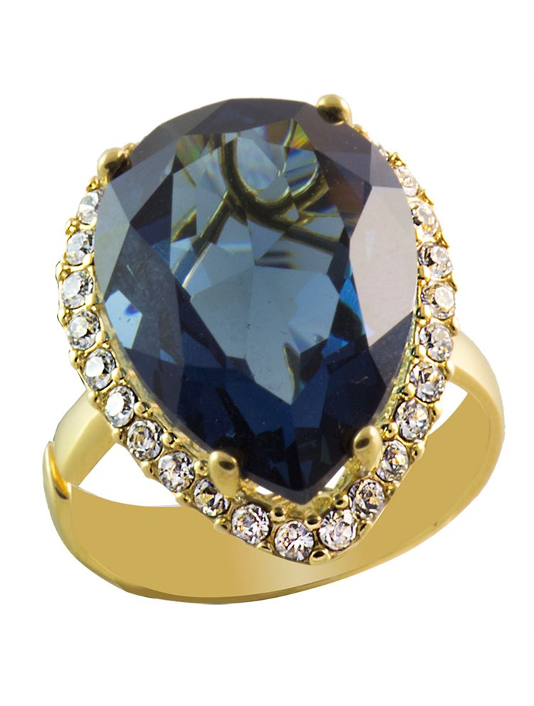 Δαχτυλίδι από επιχρυσωμένο ασήμι με πέτρες Swarovski