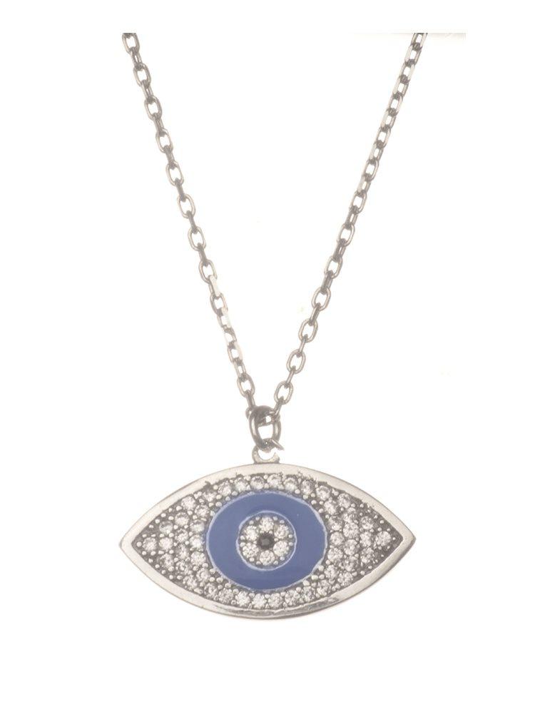 Κολιέ μάτι από ασήμι 925 με πέτρες ζιργκόν