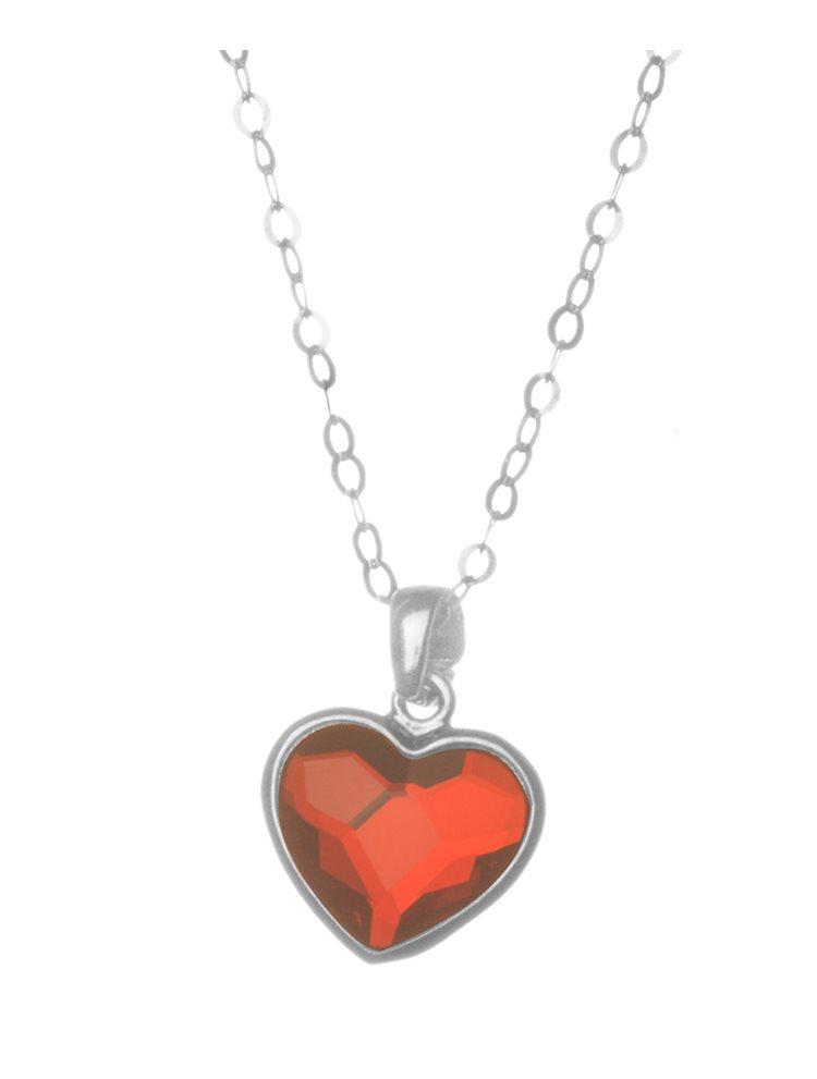 Κολιέ καρδιά από ασήμι 925 με πέτρα Swarovski