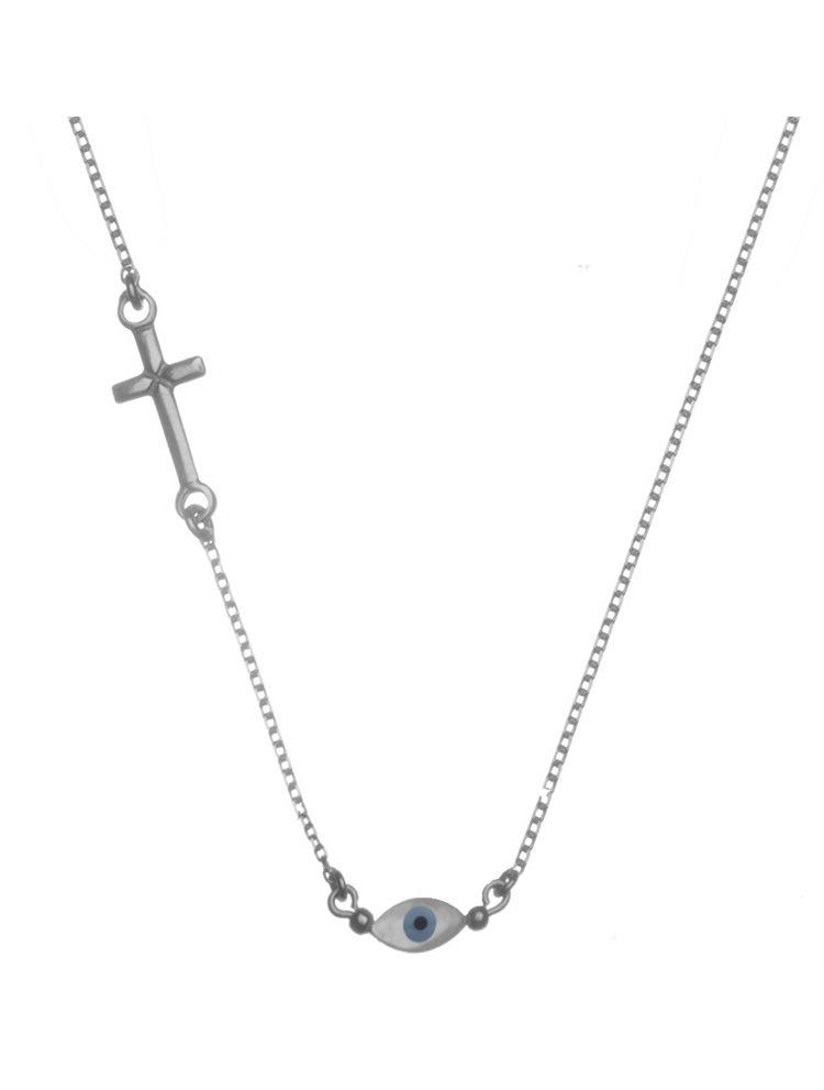 Κολιέ ματάκι με σταυρό από ασήμι 925
