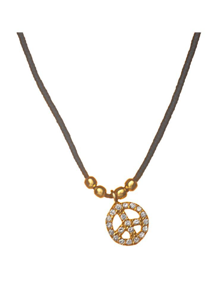 Κολιέ με σήμα ειρήνης από επιχρυσωμένο ασήμι 925 με πέτρες ζιργκόν