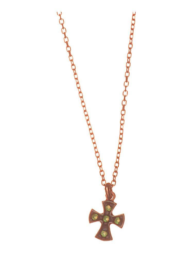 Κολιέ σταυρός από ρόζ επιχρυσωμένο ασήμι 925 με πέτρες ζιργκόν