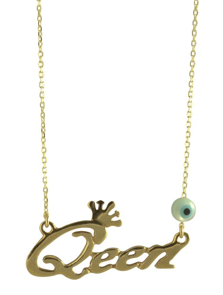 Διακριτικό κολιέ Queen από επιχρυσωμένο ασήμι 925 d8ea31c0508