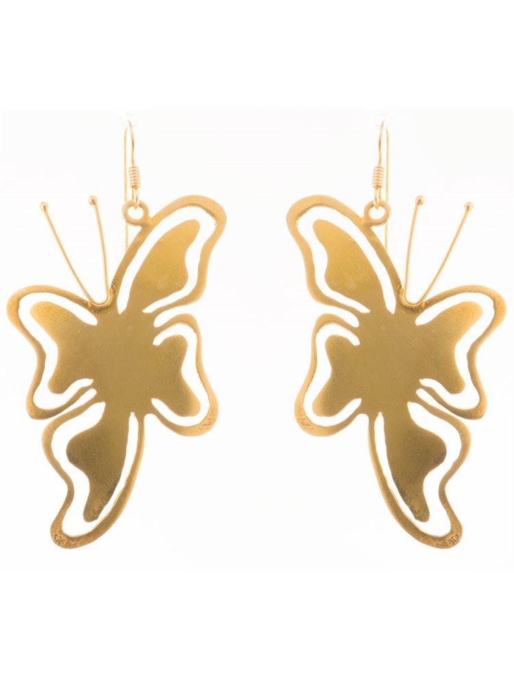 Σκουλαρίκια πεταλούδες από επιχρυσωμένο ασήμι