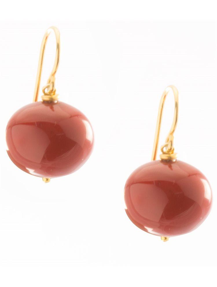 Σκουλαρίκια από επιχρυσωμένο ασήμι με κόκκινη χάντρα