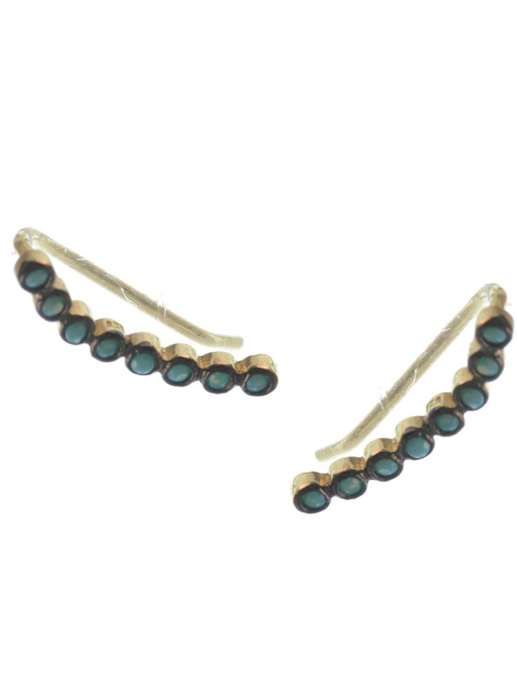 Trendy Σκουλαρίκια από επιχρυσωμένο ασήμι με πέτρες ζιργκόν τυρκουάζ