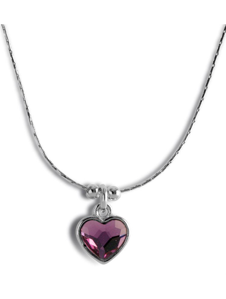 Κολιέ με καρδιά από ασήμι 925 με πέτρα Swarovski