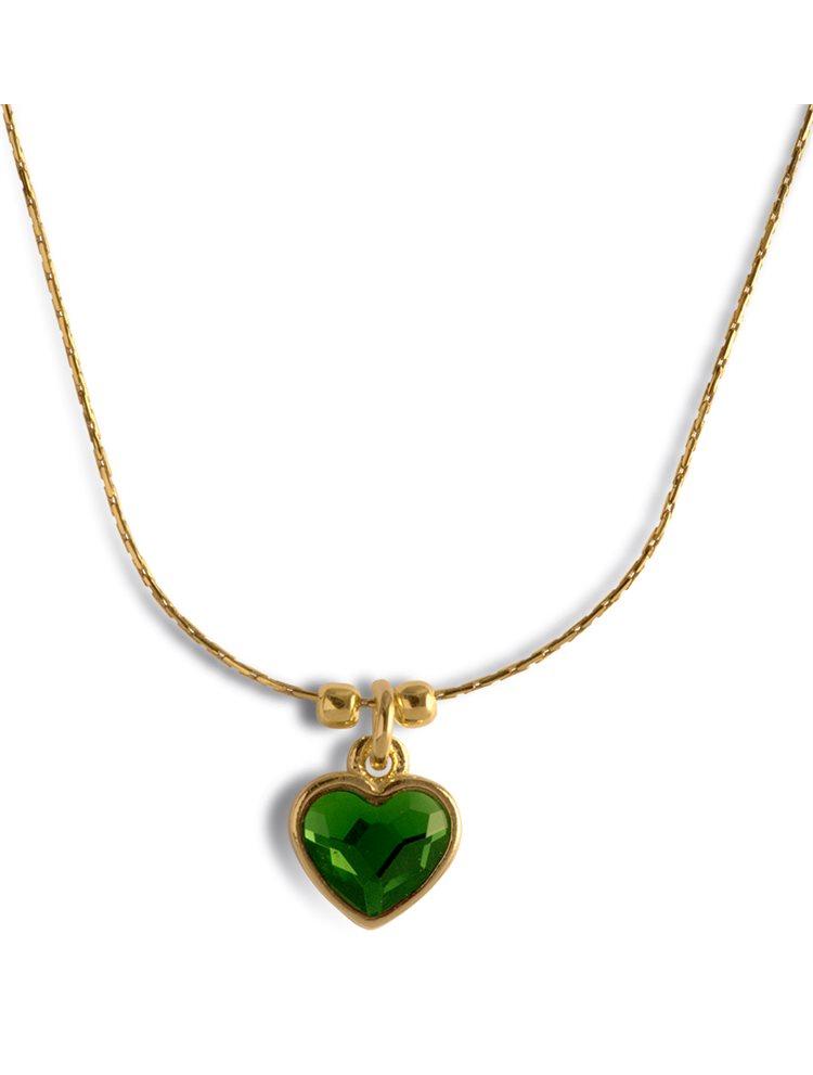 Κολιέ με καρδιά από επιχρυσωμένο ασήμι 925 με πέτρα Swarovski