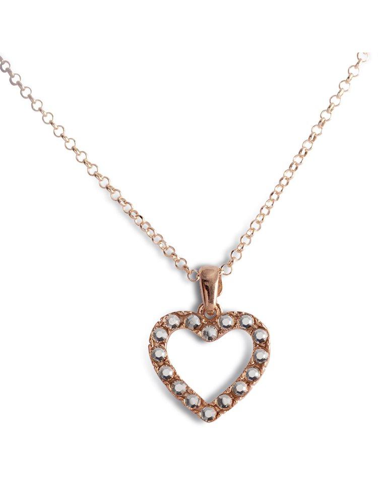 Κολιέ με καρδιά από ρόζ επιχρυσωμένο ασήμι 925 με πέτρες Swarovski