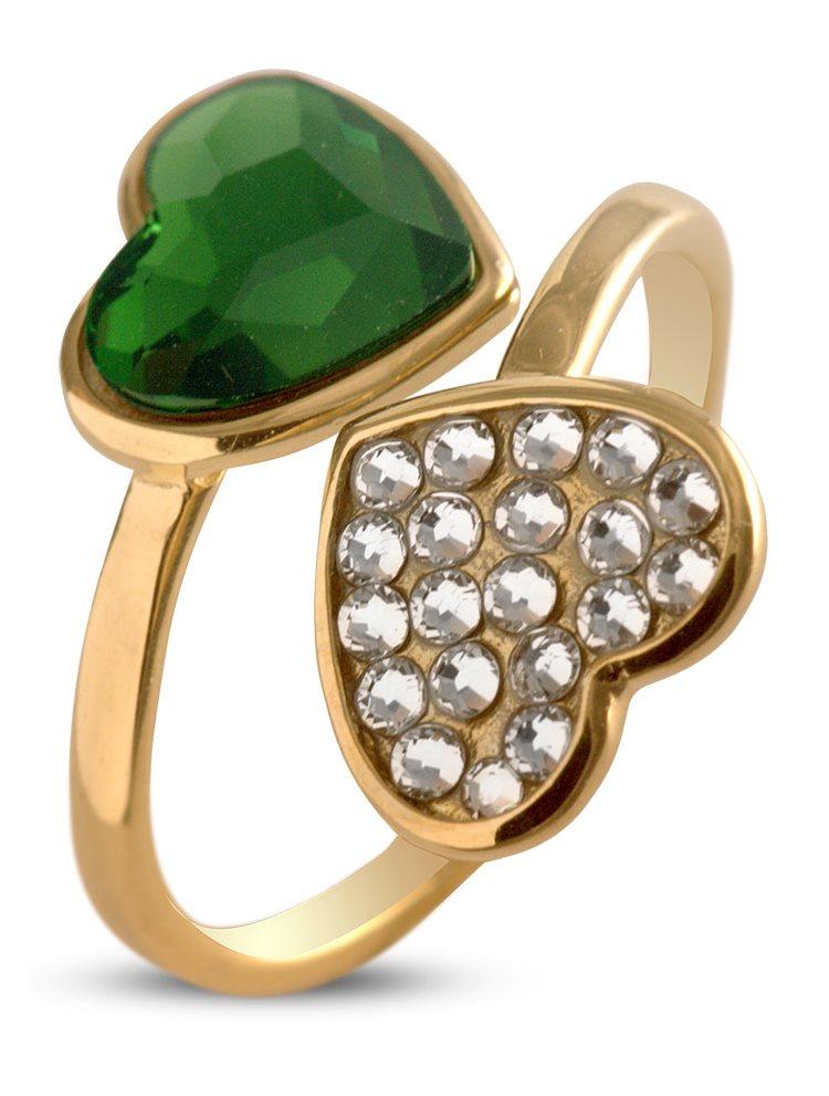 Δαχτυλίδι με καρδιές από επιχρυσωμένο ασήμι 925 με πέτρες Swarovski