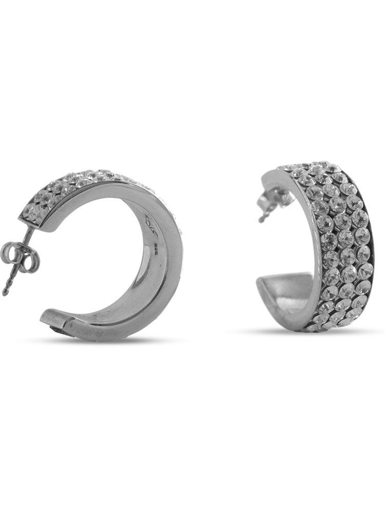 Σκουλαρίκια κρίκοι από ασήμι 925 και πέτρες Swarovski