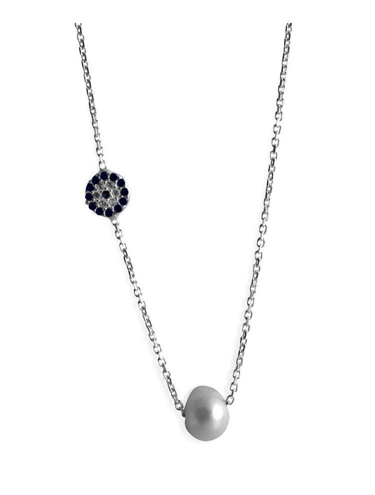 Κολιέ από ασήμι 925 με μαργαριτάρι και ματάκι στο πλάι 61aabda527b