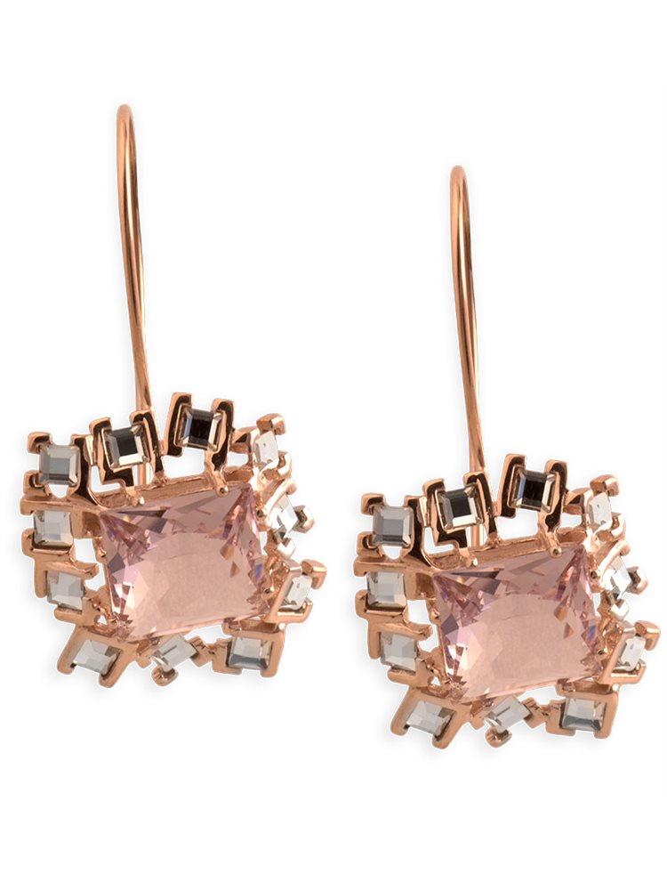 Σκουλαρίκια σε ρόζ επιχρυσωμένο ασήμι με πέτρες Swarovski