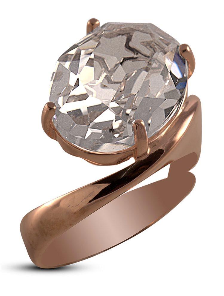 Δαχτυλίδι από ρόζ επιχρυσωμένο ασήμι και πέτρα Swarovski