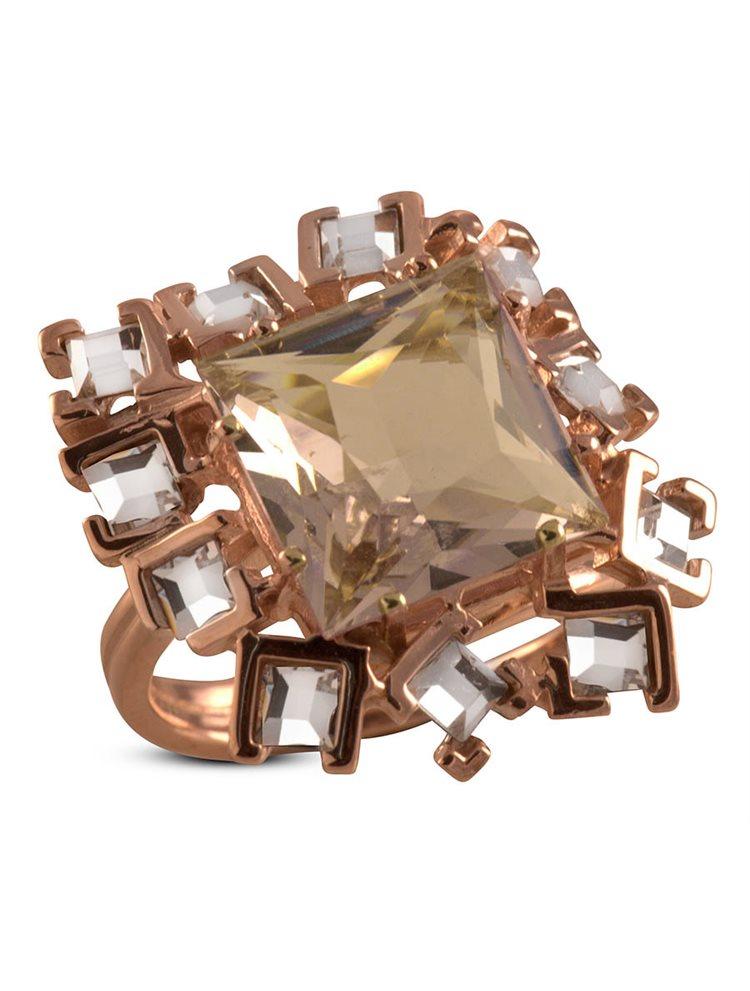 Δαχτυλίδι από ρόζ επιχρυσωμένο ασήμι και πέτρες Swarovski