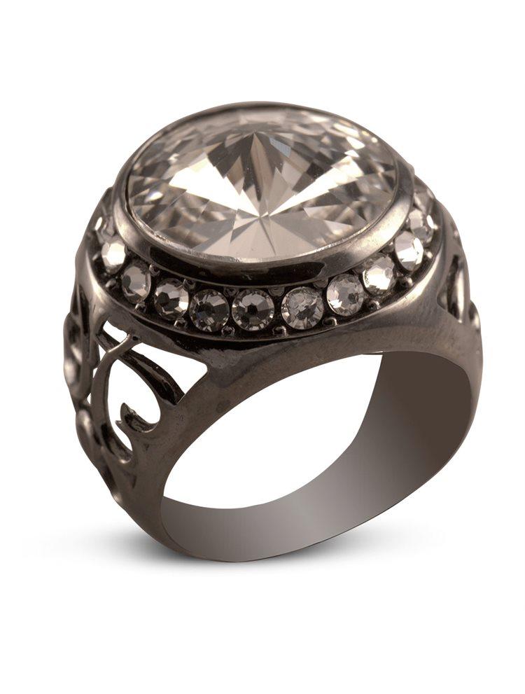 Δαχτυλίδι από μαύρο πλατινωμένο ασήμι και πέτρες Swarovski