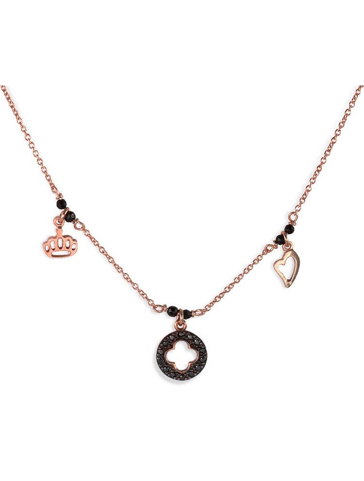 Κολιέ με τριπλά στοιχεία ενσωματωμένα από ροζ επιχρυσωμένο ασήμι και πέτρες