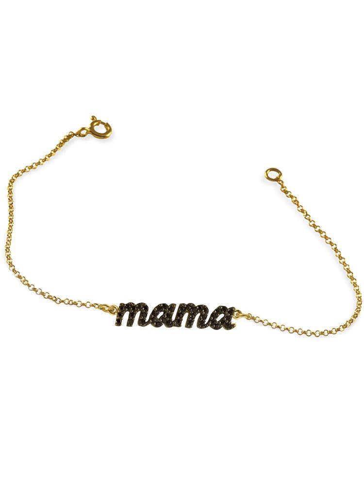 Βραχιόλι Mama (Μαμά) από επιχρυσωμένο ασήμι 925