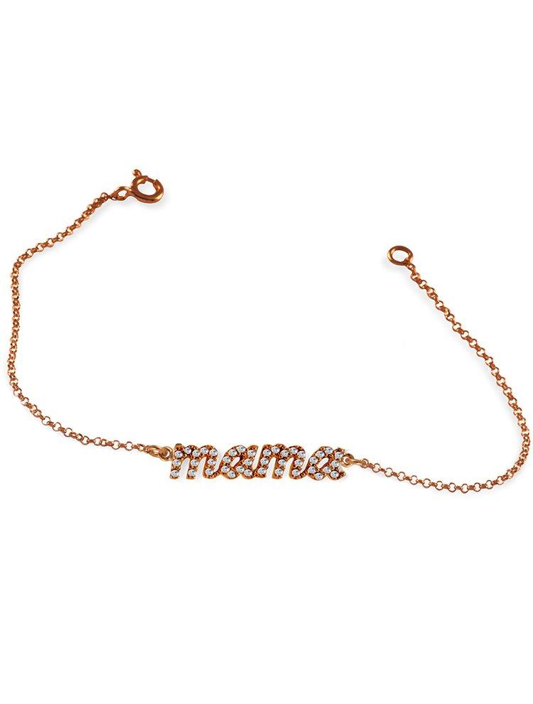 Βραχιόλι Mama (Μαμά) από επιχρυσωμένο ασήμι 925 (ρόζ χρυσό)