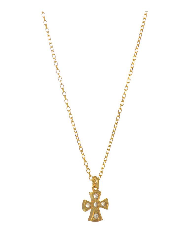 Κολιέ με μικροσκοπικό σταυρό από επιχρυσωμένο ασήμι με πέτρες ζιργκόν